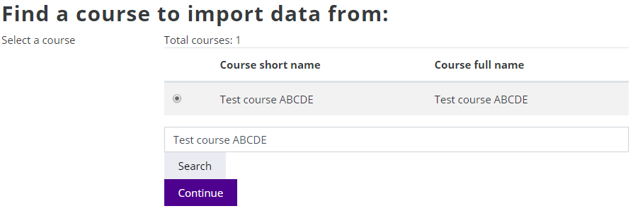 Import data from course